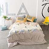 HIGHBUY Reversible Cotton Kids Bedding Sets Twin Cat Print Duvet Cover Set Teens Boys Girls Zipper Closure Corner Ties Children Comforter Cover Queen