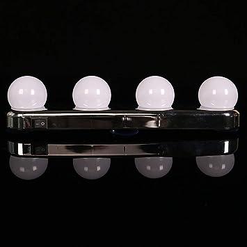 JYY LED Luces De Espejo De Vanidad Luz Natural para El Maquillaje Tocador con 4 Bombillas LED Y Potentes Ventosas: Amazon.es: Hogar
