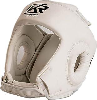 Wanlianer Couvre-Chef de Boxe Blanc Couleur Haute Qualité Boxe MMA Kickboxing Tête Vitesse Casque De Casque Casque Sparring Muay Thai Kick Brace Protection De La Tête (Taille : XL)