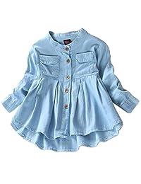 DOTACOKO Baby Girls Casual Ruffle Hem Princess Style Button Down Denim T-Shirts Tops