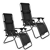EMMETTS Ourdoor Black Zero Gravity Lounge Chair with Pillow without Cup Holder black (set of Two)