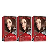 Revlon Colorsilk Beautiful Color, Permanent Hair Dye with Keratin, 100% Gray Coverage, Ammonia Free, 33 Dark Soft Brown (Pack of 3)