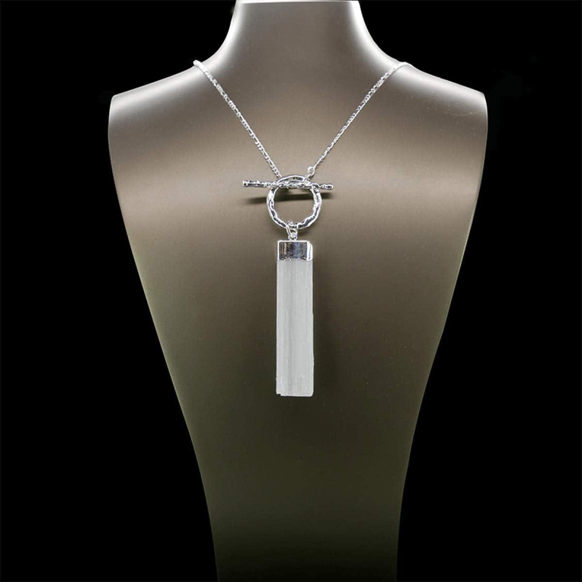 Colgante de Selenita en Bruto Desmontable baño de Plata Minerales y Cristales, Belleza Energética, Meditacion, Amuletos Espirituales