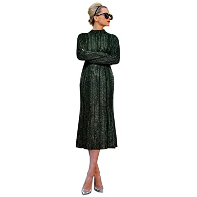 USbabys Wool Blends Knitted Dress Stand Collar High Waist Mid-Calf Tight Dresses M