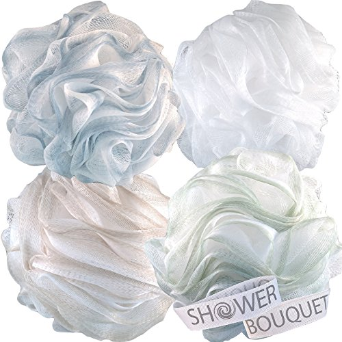 Baby Shower Bouquets - Loofah Bath Sponge XL 75g Soft Set by Shower Bouquet: 4 Pack Pastel Colors - Extra Large Mesh Pouf Scrubber for Men and Women - Exfoliate with a Big Lush Lathering Cleanse & Beauty Bathing Accessories