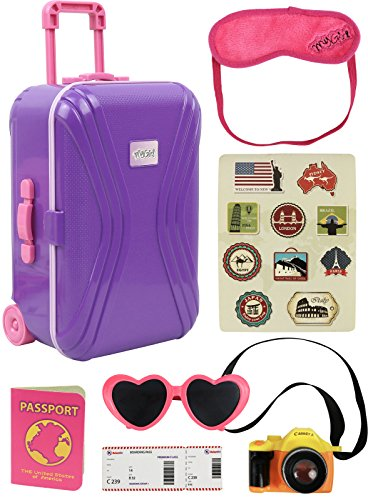 "Click N' Play 18"" Doll Travel Carry on Suitcase Luggage 7 Piece Set with Travel Gear Accessories, Perfect For 18 inch American Girl Dolls (Doll Suitcase)"