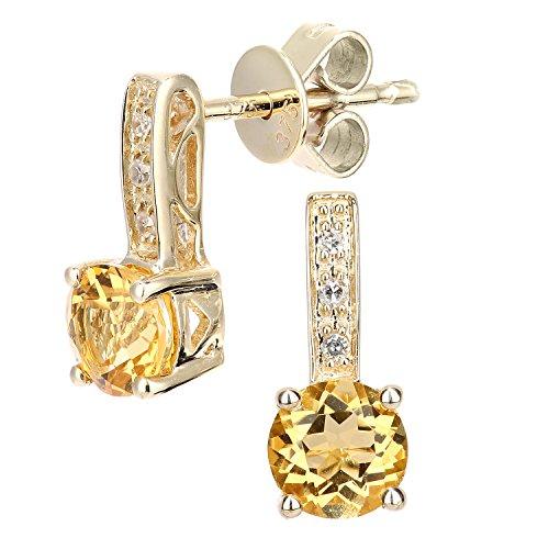 Revoni Bague en or jaune 9carats avec diamant et Citrine rond coupe-Boucles d'Oreilles Pendantes Femme -