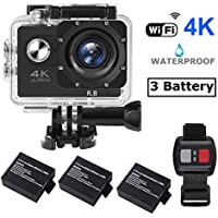 R.B N6 4K Action Camera WIFI Ultra HD Waterproof Sports DV Camcorder 16MP 170° Wide Angle 2 inch LCD Screen / 2.4G Remote / 3 Rechargeable Batteries / 19 Mounting Kits-Black (2017 Version)