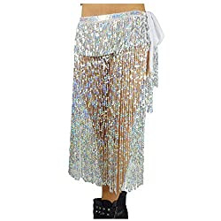 Belly Dance Long Hip Scarf In Silver Sequins