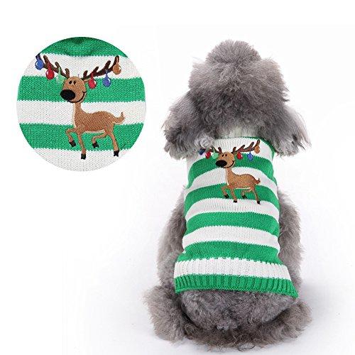 BOBIBI Pet Cartoon Reindeer Christmas Dog Sweater Pet Winter Knitwear Warm Clothes
