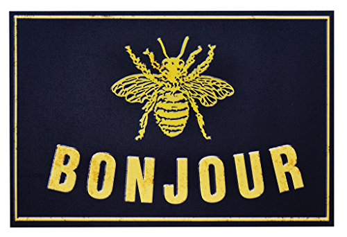 Decorative Things Indoor Outdoor Mats Outdoor Patio Rugs Thin Rubber Mat Machine Wash 18'' x 27'' Bee by Decorative Things