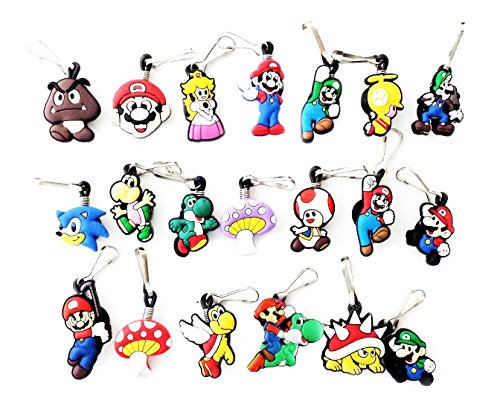 AVIRGO 20 pcs Zipper Pull Charms for Jacket Backpack Bag Pendant Set # 66-2 by Hermes (King Koopa Costume)