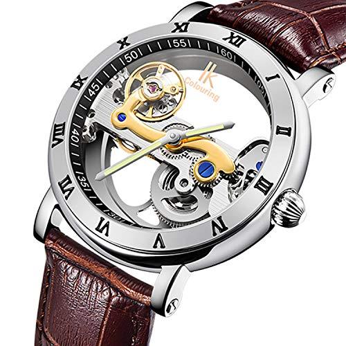 Gute Luxury Steampunk Bling Automatic Mechanical Wristwatch Minimalist Gold Tone Bezel Dark Brown PU