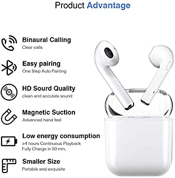 Bluetooth Headset, Bluetooth 5.0 Wireless Earbuds, Built-in Handsfree Microphone and Charging Case, Noise Reducing 3D Stereo, in-Ear Headphones for Apple Airpods Android iPhone
