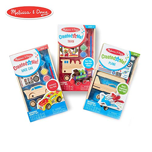 Melissa & Doug Decorate-Your-Own Wooden Craft Kits Set - Plane, Train, and Race Car ()