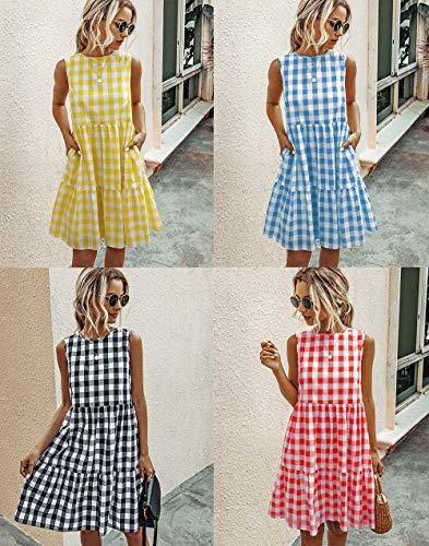 PRETTYGARDEN Women's Casual Plaid Sleeveless Ruffle Sundress Round Neck A-Line Pleated Mini Short T Shirt Dress with Pockets