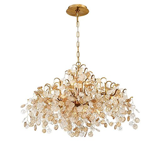 Eurofase 29059-010 Campobasso - Eight Light Chandelier, Gold Finish with Clear/Amber Crystal