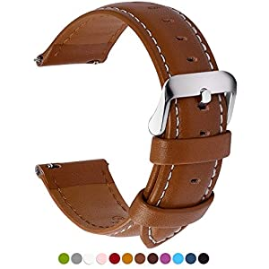 12 Colors for Quick Release Leather Watch Band, Fullmosa Axus Series Genuine Leather Replacement Watch Strap with Stainless Metal Clasp 24mm Brown