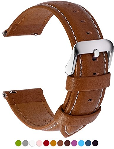 12 Colors for Quick Release Leather Watch Band, Fullmosa Axus Genuine Leather Watch Strap 16mm Brown (Timex Watch 16mm Weekender Strap)