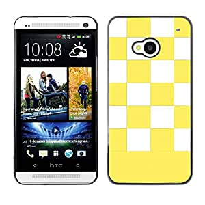 Graphic4You Checkered Pattern Design Hard Case Cover for HTC One (M7) (Yellow)