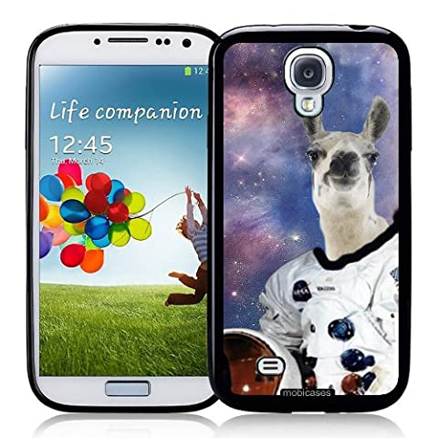 Hipster Astronaut Llama Galaxy - Protective Designer BLACK Case - Fits Samsung Galaxy S4 i9500 (Ipod 5 Llama Case)