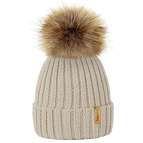 8082ae996a6 TOSKATOKWomens Winter Rib Knitted Hat Beanie with Detachable Chunky Faux Fur  Bobble Pom Pom - Buy Online in Oman.