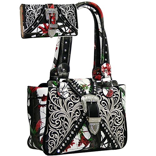 Buckle Purse - Western Concealed Embroidered Camo Buckle Handbag Purse Wallet Set -Red/Cam