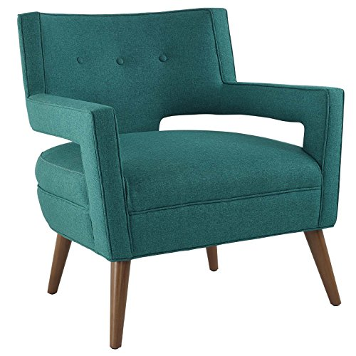 Modway  Sheer Upholstered Fabric Mid-Century Modern Accent Arm Lounge Chair Teal