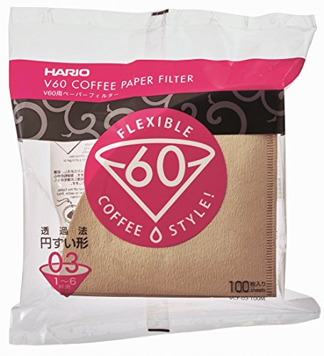 Count Natural (Hario V60 Misarashi Coffee Paper Filter (Size 03, 100 Count, Natural))