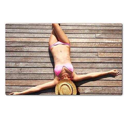 Luxlady Large TableMats Woman sunbathing lying at the deck IMAGE 25910835 Customized Art Home Kitchen