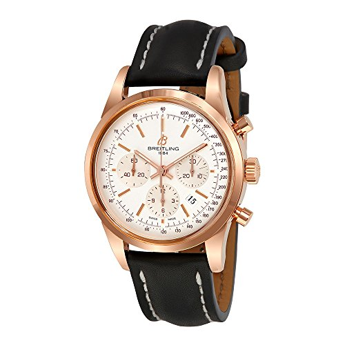 Breitling Transocean Silver Dial Chronograph 18kt Rose Gold Black Leather Mens Watch RB015212-G738