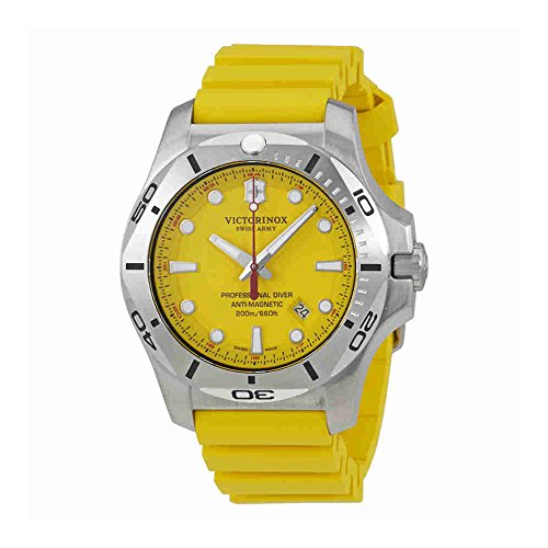 Victorinox Swiss Army Men's 'I.N.O.X.' Swiss Quartz Stainless Steel and Rubber Diving Watch, Color:Yellow (Model: 241735.1)