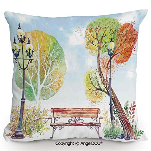 AngelDOU Pillow Cotton Linen Cushion,Colorful Fall Trees Wooden Bench Lantern in Park on Blue Sky Street Lamps Decorative,Coffee Shop Restaurant Sofa Company Gifts.13.7x13.7 inches