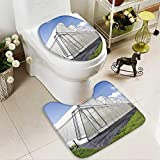 Bathroom Non-Slip Floor Mat greenhouse of melon farm on blue sky background with High Absorbency