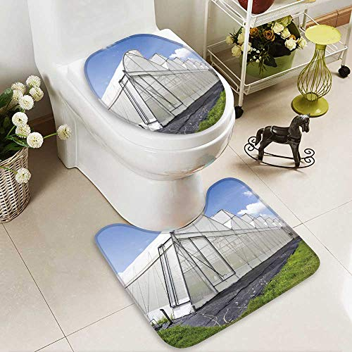 Bathroom Non-Slip Floor Mat greenhouse of melon farm on blue sky background with High Absorbency by Analisahome