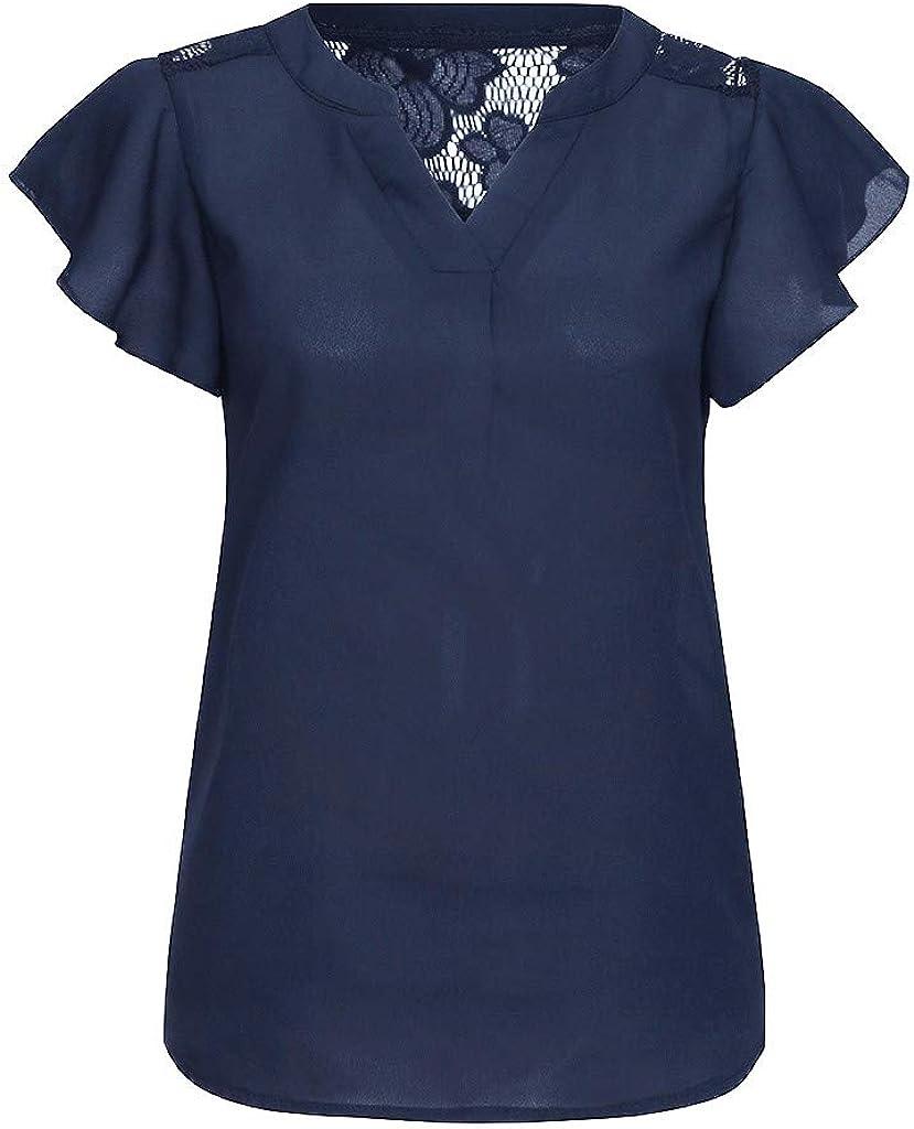 Auifor Camisas de Encaje de Manga Corta con Cuello en v Blusa de ...