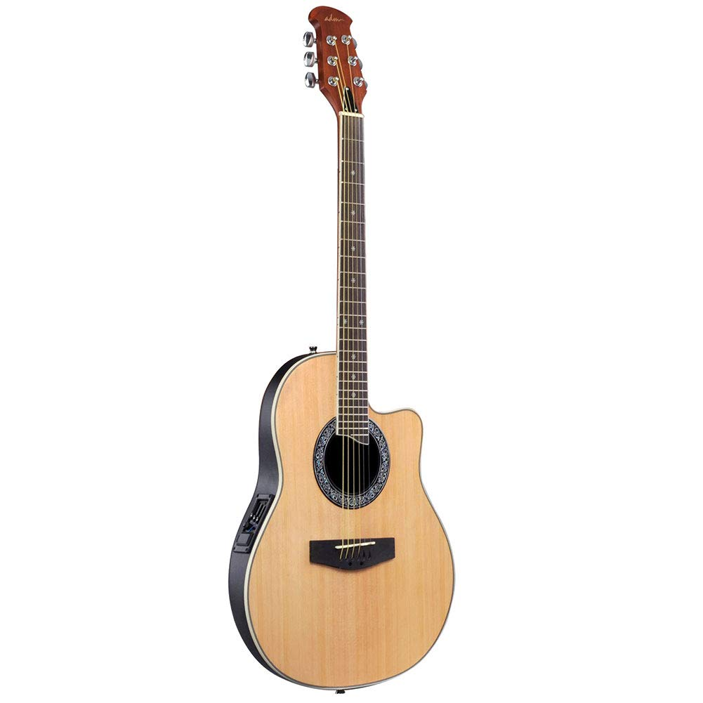 ADM Full Size Acoustic Electric Cutaway Guitar, Round Back Round Hole with 3-Band EQ, Natural JO61
