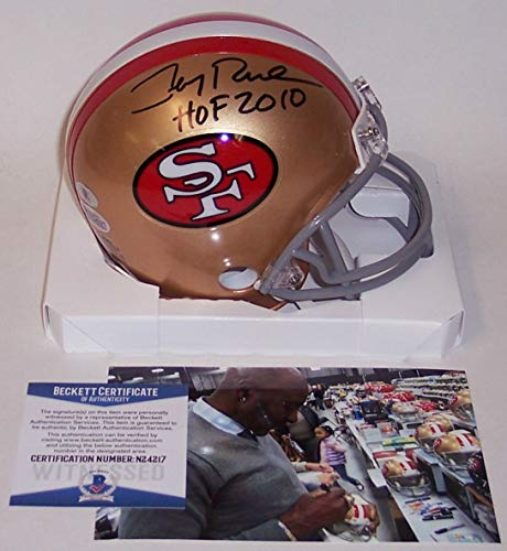 - Jerry Rice Autographed Hand Signed San Francisco 49ers Mini Football Helmet - with Hall of Fame 2010 Inscription - BAS Beckett