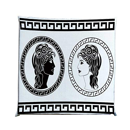 YOLIYANA Toga Party Durable Square Chair Pad,Roman Aristocrat Woman Profiles Circular Classical Frames Hairstyle Beauty for Bedroom Living Room,One Size