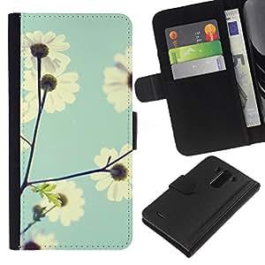 EJOY---La carpeta del tirón la caja de cuero de alta calidad de la PU Caso protector / LG G3 / --El campo Vignette Cielo Azul bebé Flor