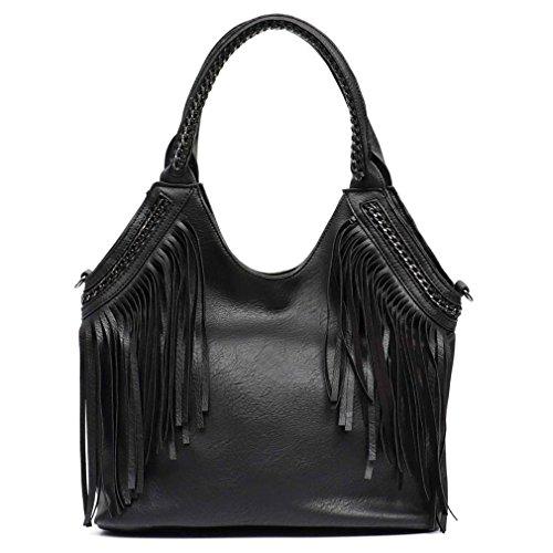 Easygill Women Tote Bags Chain Handle Messenger Bag Vegan Leather Hobo Fringe Handbag BLACK
