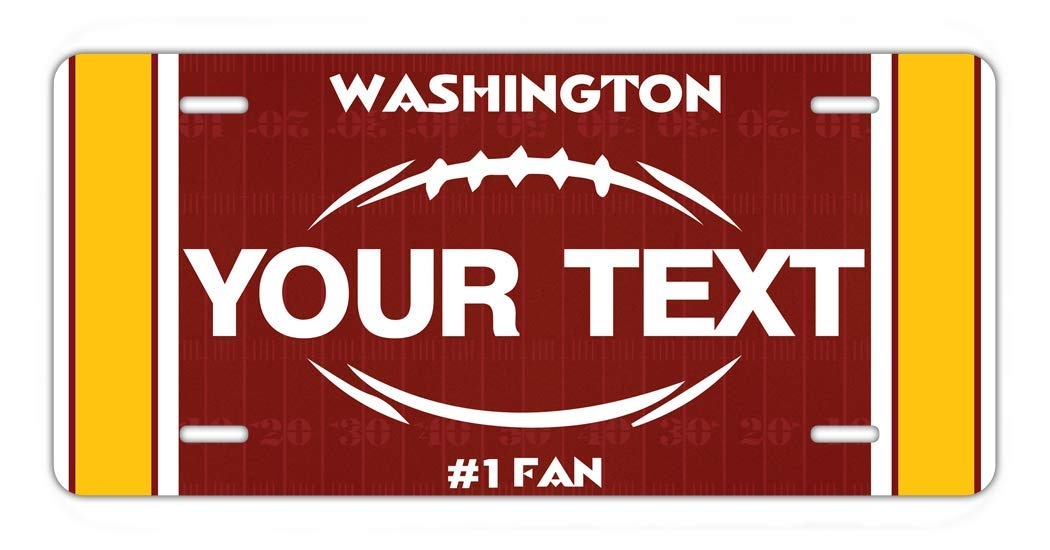 BRGiftShop Personalize Your Own Football Team Washington Car Vehicle 6x12 License Plate Auto Tag