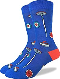Good Luck Sock Men's Curling Crew Socks - Blue, Adult Shoe Size 7-12