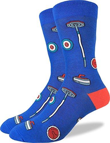 Good Luck Sock Mens Curling Crew Socks - Blue, Adult Shoe Size 7-12