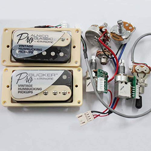(1 Set ProBucker Alnico Electric Guitar zebra Humbucker Pickups with Pro Wiring Harness For EPI)