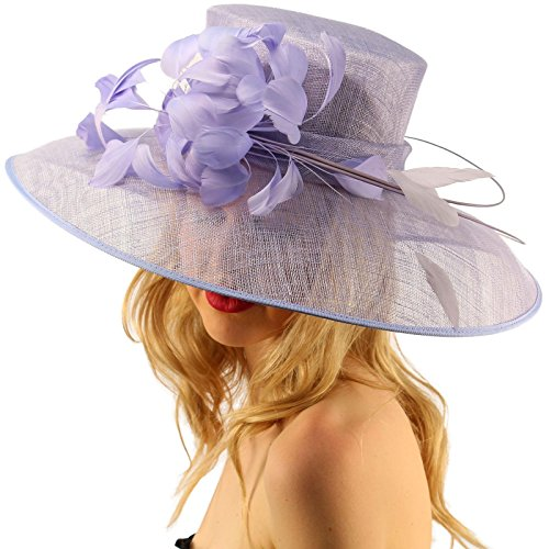 - for a Queen Dome Sinamy Floral Spray Feathers Derby Floppy Dress Wide Hat Lilac