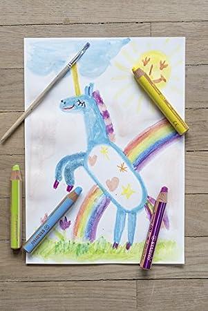 Wasserfarbe /& Wachsmalkreide STABILO Buntstift mit 6 verschiedenen Farben woody 3 in 1-6er Pack