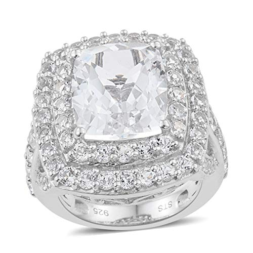 925 Sterling Silver Platinum Plated Cushion Golconda Diamond Topaz Cocktail Ring Size 6 Cttw 7.9 -
