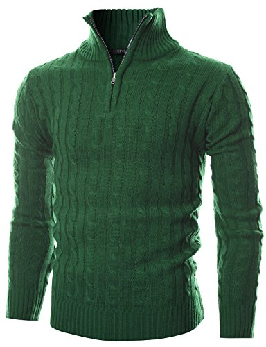 Cable Half Zip Sweater (GIVON Mens Slim Fit Cable Knit Quarter Zip Long Sleeve Turtle Neck Pullover Sweater/DCP044-GREEN-L)
