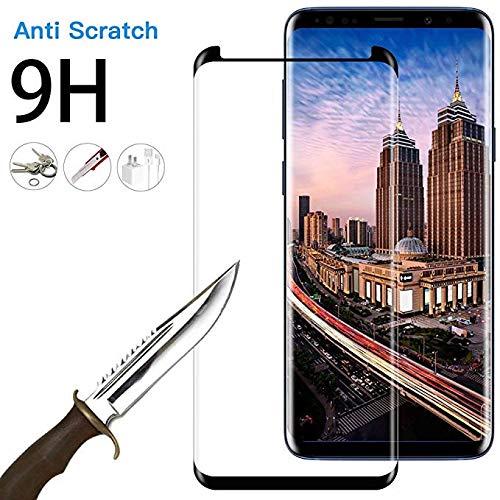 EcoPestuGo Compatible (Black) for Galaxy S9 Plus Tempered Glass Screen Protector, EcoPestuGo [2 Pack][Half Screen] Case Friendly,Anti-Scratch,Anti-Fingerprint,Bubble Free Compatible S9 Plus by EcoPestuGo (Image #3)